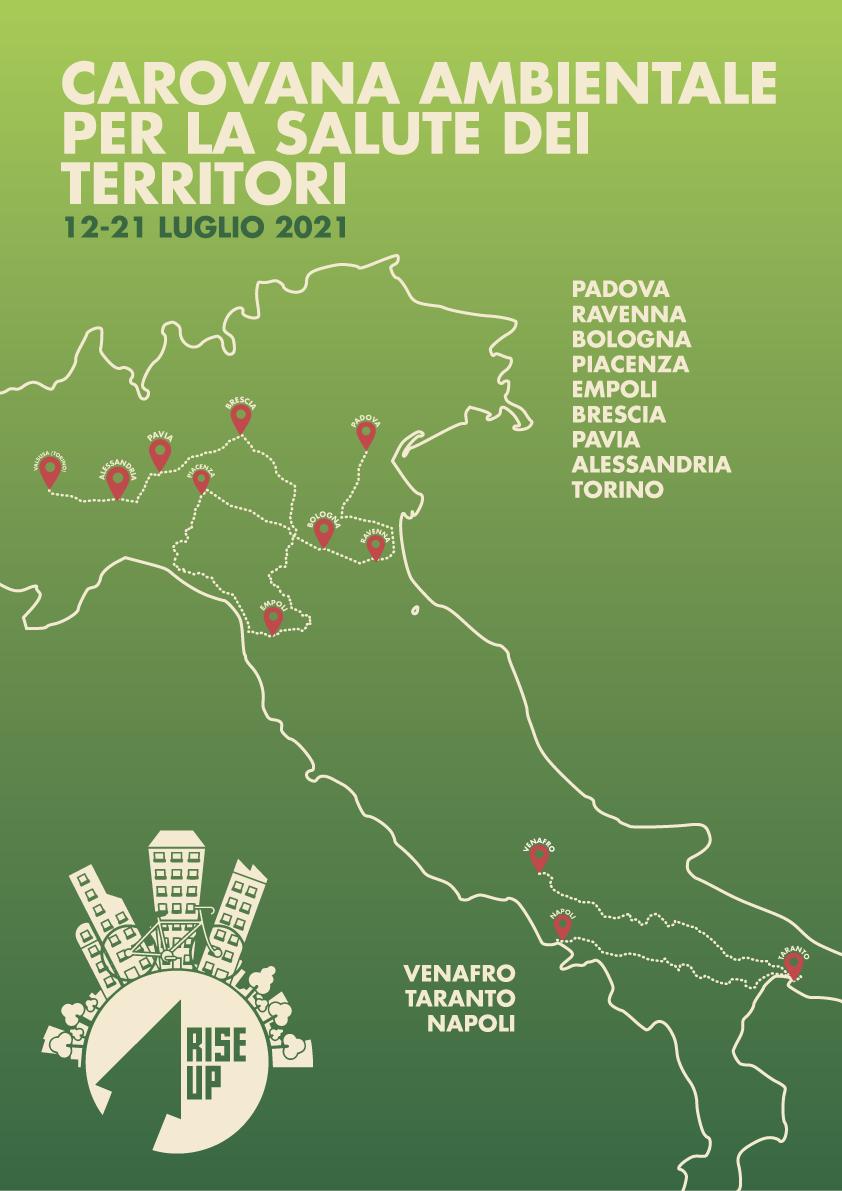 mappa dell'Italia con il tracciato delle carovane